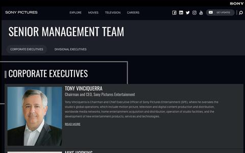 Screenshot of Team Page sonypictures.com - Corporate Executives | Sony Pictures Entertainment - captured March 30, 2019