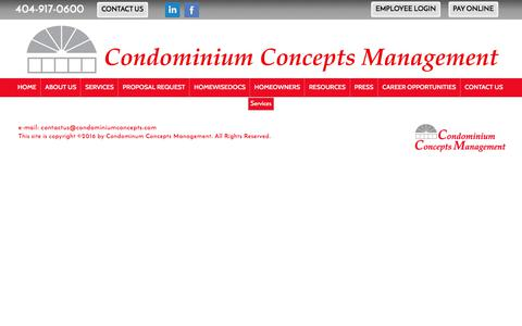 Screenshot of Services Page condominiumconcepts.com - Condominium Concepts Management - Services - captured Aug. 19, 2017