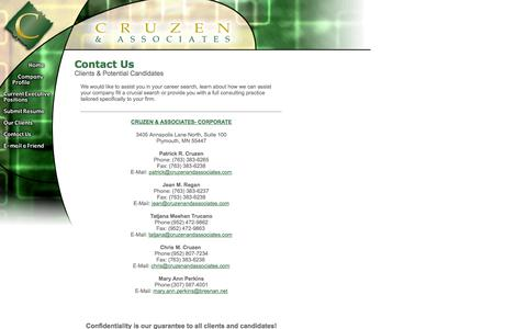 Screenshot of Contact Page cruzenandassociates.com - Cruzen & Associates - Executive Search and Consulting Services Specializing in: Gaming, Gaming Supply, Hospitality and Lottery Industries. - captured Oct. 3, 2014