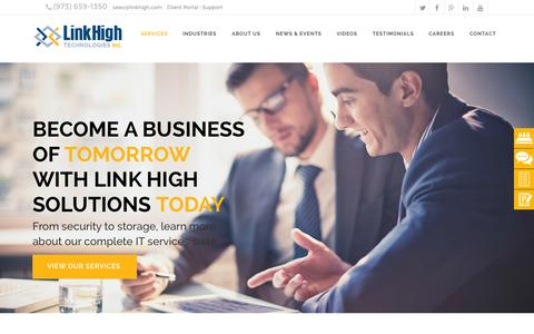Screenshot of Home Page linkhigh.com - Link High Technologies | Managed IT Services | NJ IT Company - captured Sept. 11, 2015