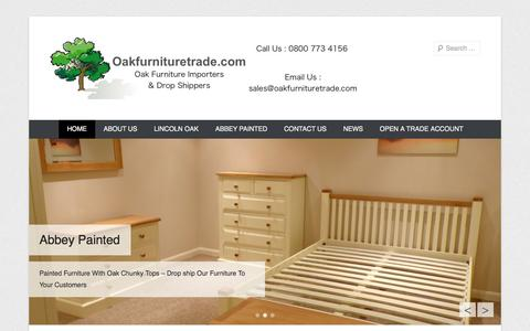 Screenshot of Home Page Menu Page oakfurnituretrade.com - Oak Furniture Trade | Solid Oak Furniture Wholesalers - captured Oct. 6, 2014