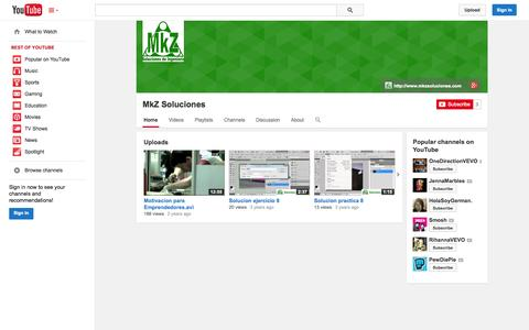 Screenshot of YouTube Page youtube.com - MkZ Soluciones  - YouTube - captured Oct. 26, 2014