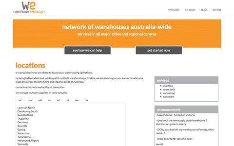 Screenshot of Locations Page w-e.com.au - locations :: w-e warehousing & distribution management - captured Nov. 21, 2015