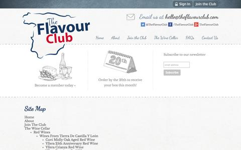 Screenshot of Site Map Page theflavourclub.com - Site Map | Unique Spanish Wines and Food | London | The Flavour Club - captured Oct. 7, 2014