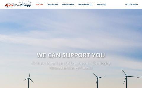 Screenshot of Home Page alphawind.dk - Welcome - Alpha Wind Energy - captured Nov. 12, 2018