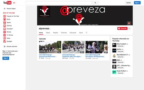 Screenshot of YouTube Page youtube.com - atpreveza .  - YouTube - captured Oct. 30, 2014
