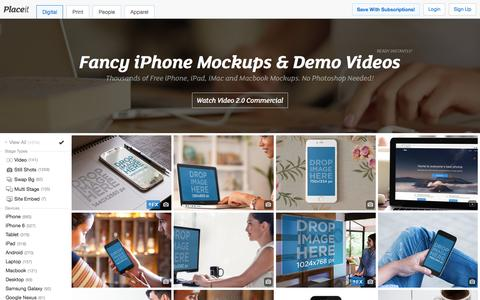 Screenshot of Home Page placeit.net - Free iPhone Mockup Generator & App Demo Videos by Placeit - captured Dec. 4, 2015