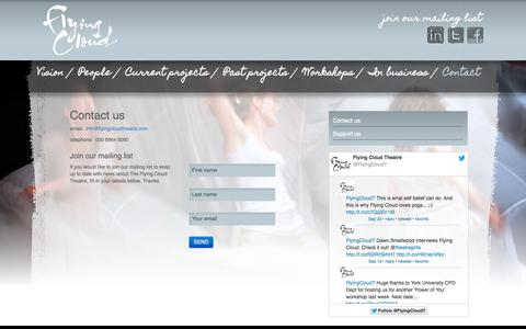 Screenshot of Contact Page flyingcloudtheatre.com - Flying Cloud Theatre - Contact - captured Sept. 30, 2014