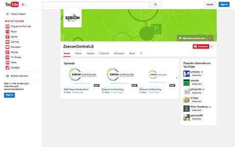 Screenshot of YouTube Page youtube.com - ZoeconCentralLS  - YouTube - captured Nov. 2, 2014