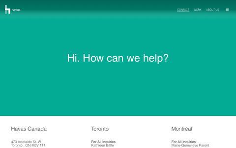 Screenshot of Contact Page havas.com - Contact Us | Havas Canada - captured Sept. 27, 2018