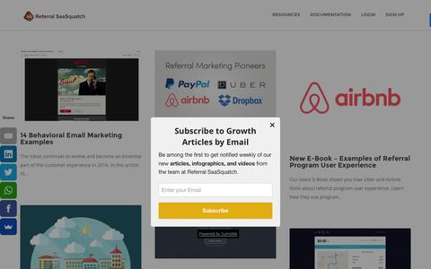 Screenshot of Blog referralsaasquatch.com - Growth - The Referral SaaSquatch Blog - captured Feb. 6, 2016