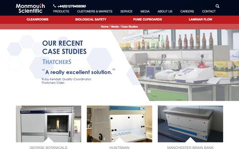 Screenshot of Case Studies Page monmouthscientific.co.uk - Case Studies of Clients at Monmouth Scientific in the UK - captured Oct. 18, 2018