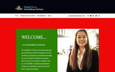 Screenshot of Home Page eohorizons.com - Singapore Sign Language | ExtraOrdinary Horizons (Deaf Singapore) - captured July 15, 2018