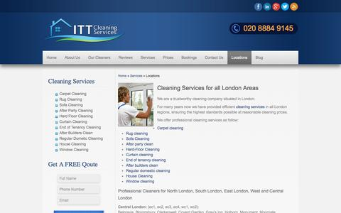 Screenshot of Locations Page ittcleaningservices.co.uk - London Locations Areas ITT Cleaning Services Covered, Window Cleaning - captured Oct. 4, 2014