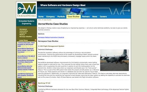 Screenshot of Case Studies Page dornerworks.com - Case Studies «  dornerworks.com - captured Sept. 30, 2014
