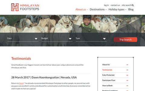Screenshot of Testimonials Page himalayanfootsteps.com - Testimonials | The People Who Matter Most | Himalayan Footsteps - captured May 19, 2017