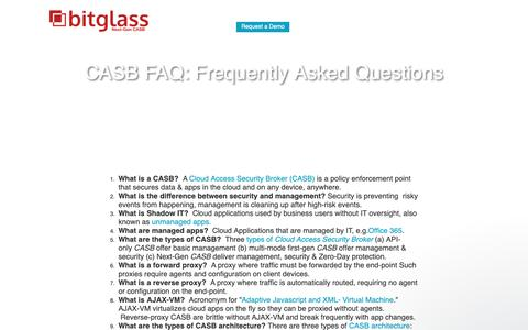 Screenshot of FAQ Page bitglass.com - CASB FAQ: Cloud Access Security Broker | Bitglass - captured Oct. 14, 2018