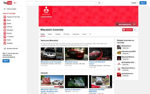 Screenshot of YouTube Page youtube.com - Mitsubishi Colombia  - YouTube - captured Oct. 25, 2014