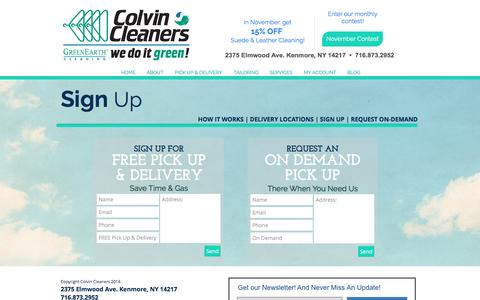 Screenshot of Signup Page colvincleaners.com - Colvin Cleaners | Sign Up for Pick Up & Delivery - captured Nov. 9, 2016