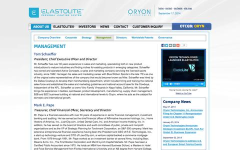 Screenshot of Team Page oryontech.com - Oryon Technologies, Inc. : Management - captured Sept. 17, 2014