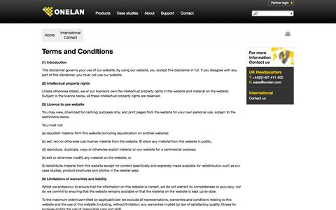 Screenshot of Terms Page onelan.com - Terms and Conditions | Onelan - captured Sept. 19, 2014