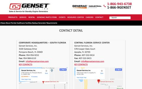 Screenshot of Contact Page gensetservices.com - Contact us - Genset Services - captured Dec. 14, 2018