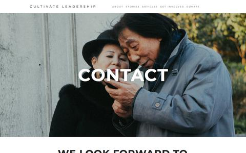 Screenshot of Contact Page cultivateleadership.org - Contact — Cultivate Leadership - captured July 23, 2018