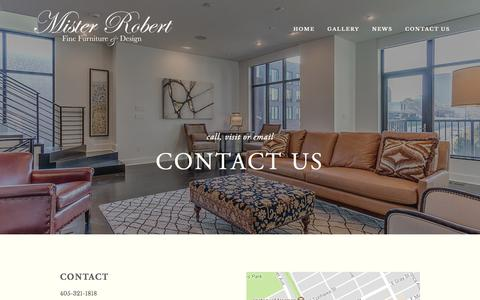 Screenshot of Contact Page misterrobert.com - Contact Us — Mister Robert Fine Furniture - captured Oct. 20, 2017