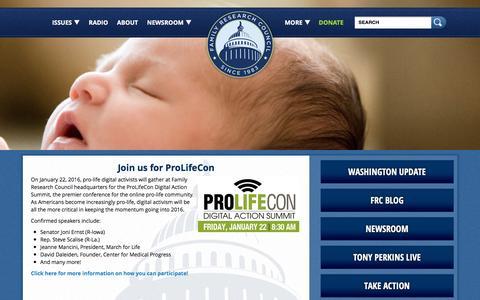Screenshot of Home Page frc.org - FRC   Pro Marriage & Pro Life Organization in Washington DC - captured Jan. 19, 2016