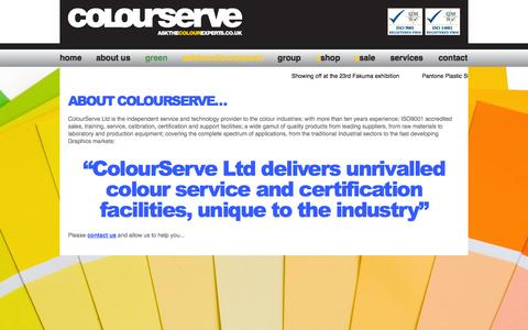 Screenshot of About Page colourserve.co.uk - About Us - ColourServe Ltd, Serving the Colour Industries - captured Oct. 8, 2014