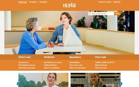 Screenshot of Home Page isala.nl - Isala - captured Jan. 18, 2016