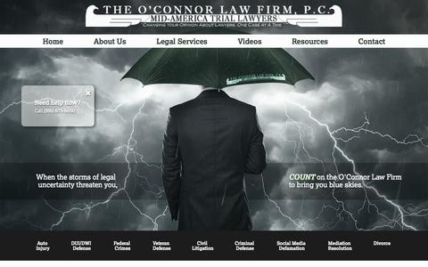 Screenshot of Home Page ockclaw.com - A Comprehensive  Kansas City Law Firm - captured Jan. 26, 2015