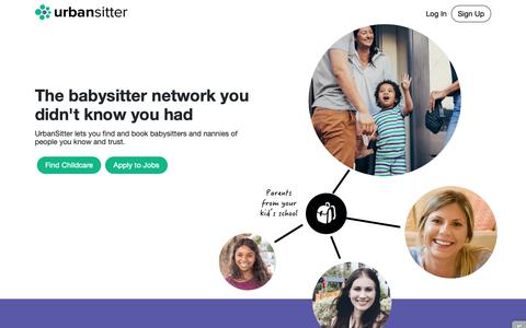 Screenshot of Home Page urbansitter.com - Find Babysitters, Nannies, and Child Care - UrbanSitter - captured Oct. 13, 2018