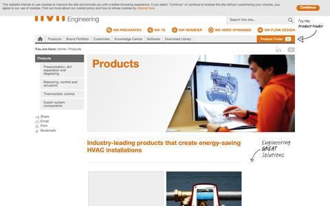 Screenshot of Products Page imi-hydronic.com - Industry-leading products that create energy-saving HVAC installations - captured Oct. 21, 2018