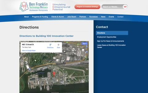 Screenshot of Maps & Directions Page benfranklin.org - Directions | Ben Franklin SEP - captured Sept. 17, 2014