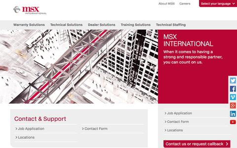 Screenshot of Support Page msxi.com - Contact & Support - MSX International - captured April 14, 2017