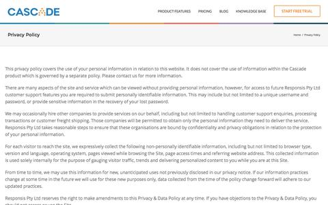 Screenshot of Privacy Page executestrategy.net - Privacy Policy | Cascade Strategy - captured Nov. 30, 2016