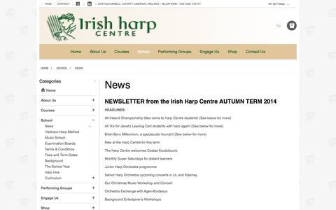 Screenshot of Press Page irishharpcentre.com - News - School - captured Sept. 30, 2014