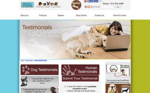 Screenshot of Testimonials Page gopetusa.com - Testimonials | Greatest invention ever for pet exercise - captured Oct. 8, 2014