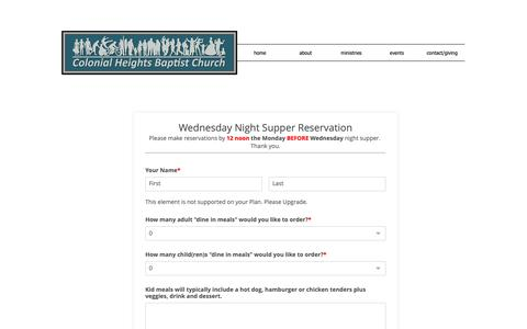 Screenshot of Signup Page chbckingsport.org - colonial-heights-bc | Wednesday Night Supper - captured Dec. 4, 2018