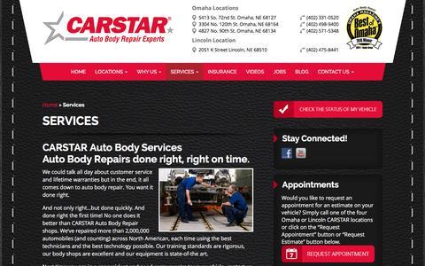Screenshot of Services Page necarstar.com - Services - CARSTAR Auto Body Repair Omaha NE - captured Feb. 8, 2016