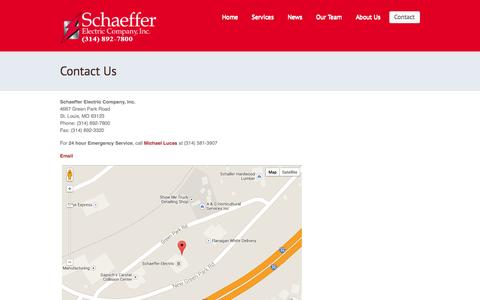 Screenshot of Contact Page schaefferelectric.com - Schaeffer Electric: St. Louis Electrical Services  |  Contact Us - captured Oct. 4, 2014