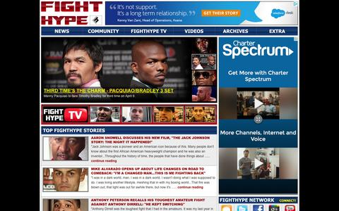 Screenshot of Home Page fighthype.com - FIGHTHYPE.COM - BOXING AND MMA INTERVIEWS, BREAKING NEWS, VIDEOS AND MORE - captured Jan. 8, 2016