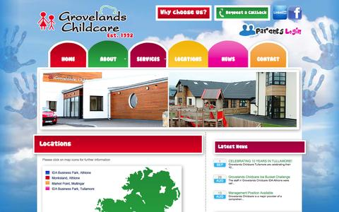 Screenshot of Locations Page grovelandschildcare.ie - Creche, Creches in Ireland, Child Care Creche, Grovelands Childcare | Grovelands Childcare - captured Sept. 30, 2014