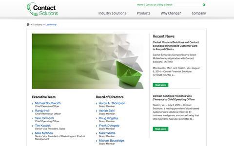 Screenshot of Team Page contactsolutions.com - Leadership | Contact Solutions - captured Sept. 13, 2014