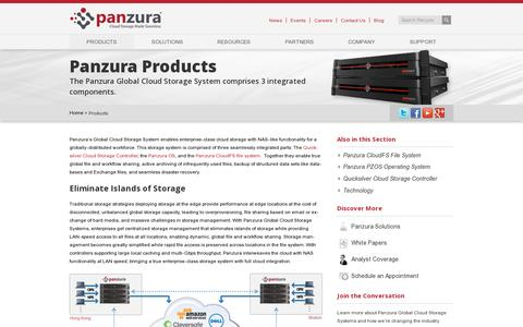 Screenshot of Products Page panzura.com - Products - Panzura - captured July 19, 2014