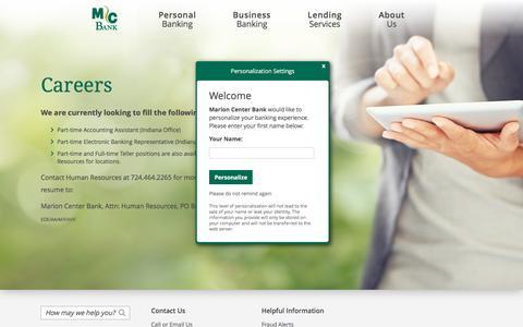 Screenshot of Jobs Page marioncenterbank.com - Careers at Marion Center Bank (Indiana, PA) - captured Aug. 9, 2016