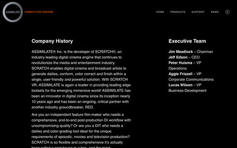 Screenshot of About Page assimilateinc.com - About » ASSIMILATE - captured Nov. 9, 2018
