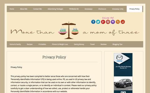 Screenshot of Privacy Page morethanamomofthree.com - Privacy Policy - - captured Jan. 13, 2016