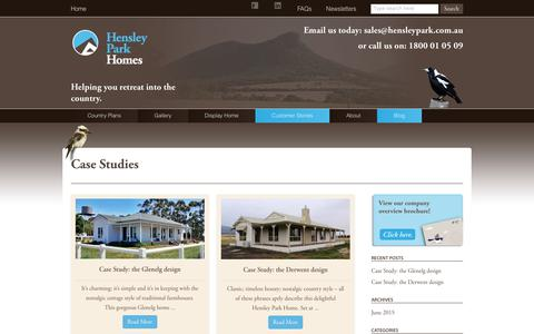 Screenshot of Case Studies Page hensleypark.com.au - Hensley Park Homes-Country homes, for comfort and country living. - captured Aug. 3, 2017